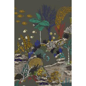 Josephine Munsey Wallpaper Underwater Jungle - Graphite & Jewel Highlights
