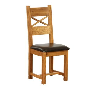 Dorchester Cross Back Dining Chair With Chocolate Leather Seat
