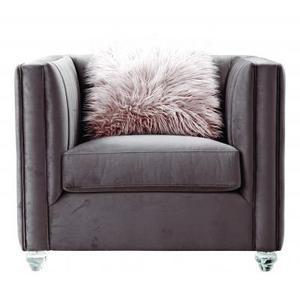 Helsinki Contemporary 1 Seater Sofa Metal Chrome Base Pink Velvet Fabric