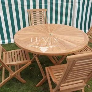 Teak Garden Furniture Sunshine 120 Cm Round Table 4 Folding Chairs Cushions Included Garden Furniture Set
