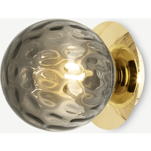 Made.com Ilaria Bathroom Wall Light, Olive Glass & Brass Brass,green, Brass,Green