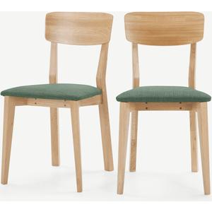 Made.com Jenson Set Of 2 Dining Chairs, Bay Green & Oak, Green