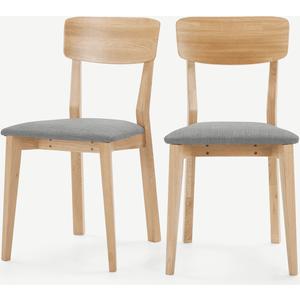 Made.com Jenson Set Of 2 Dining Chairs, Mountain Grey & Oak, Grey