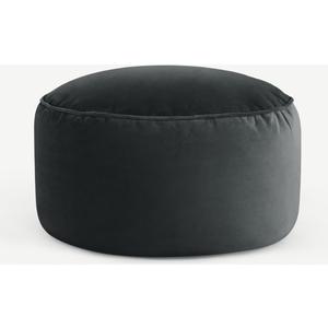 Made.com Lux Velvet Floor Cushion, Midnight Grey Velvet, Grey