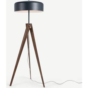 Madison Tripod Floor Lamp, Navy Blue And Dark Wood Lighting, Blue