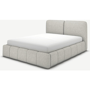 Made.com Maxmo Double Ottoman Storage Bed, Ghost Grey Cotton, Grey