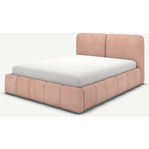 Made.com Maxmo Double Ottoman Storage Bed, Heather Pink Velvet, Pink