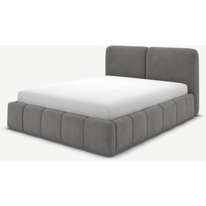 Made.com Maxmo Double Ottoman Storage Bed, Steel Grey Velvet, Grey