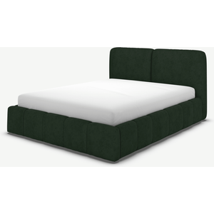 Made.com Maxmo King Size Ottoman Storage Bed, Bottle Green Velvet, Green