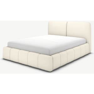 Made.com Maxmo King Size Ottoman Storage Bed, Ivory White Boucle, White