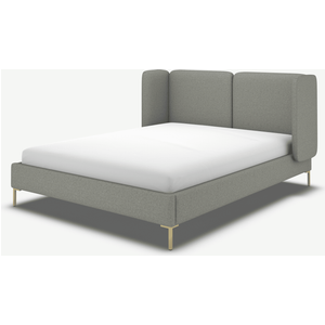 Made.com Ricola Double Bed, Wolf Grey Wool With Brass Legs, Grey