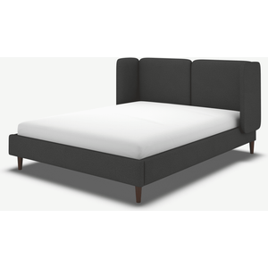 Made.com Ricola King Size Bed, Etna Grey Wool With Walnut Stain Oak Legs, Grey