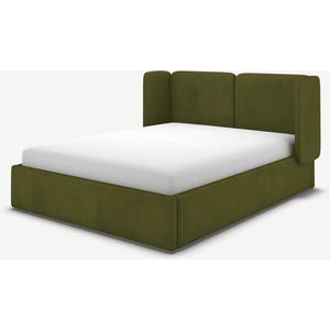 Made.com Ricola King Size Ottoman Storage Bed, Nocellara Green Velvet, Green