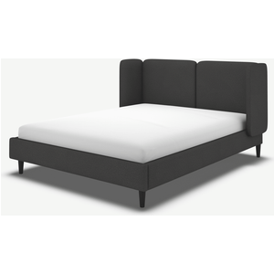 Made.com Ricola Super King Size Bed, Etna Grey Wool With Black Stain Oak Legs, Grey