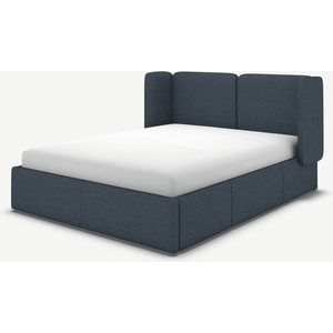 Made.com Ricola Super King Size Bed With Storage Drawers, Shetland Navy Wool Blue, Blue