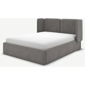 Made.com Ricola Super King Size Ottoman Storage Bed, Steel Grey Velvet, Grey