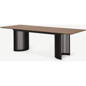 Made.com Zaragoza 6-10 Seat Extending Dining Table, Walnut & Charcoal Black, Black