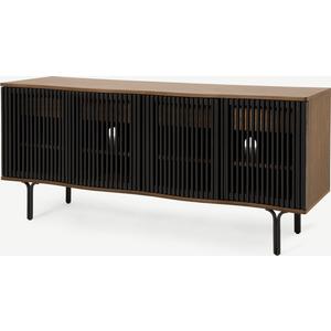 Made.com Zaragoza Wide Sideboard, Walnut & Charcoal Black Black,dark Wood, Black,Dark wood