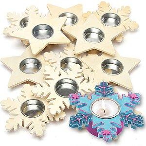 Baker Ross Star & Snowflake Wooden Tealight Holders Bulk Pack (pack Of 32) 5051174062252