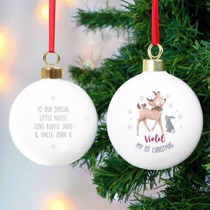 1st Christmas Festive Fawn Bauble For You Personalised Gifts P0305g99