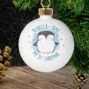 1st Christmas Pengiun Bauble For You Personalised Gifts P0305h01 6 x 6 x 6 cm