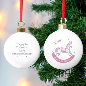 1st Christmas Pink Rocking Horse Bauble For You Personalised Gifts P0305g97