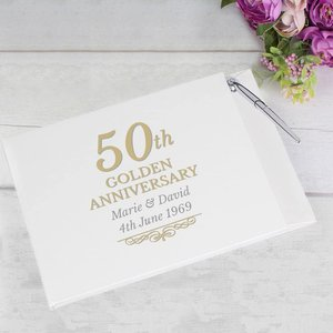 50th Golden Anniversary Hardback Guest Book & Pen For You Personalised Gifts P1012a32