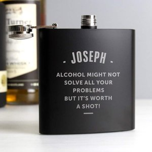 Any Message Black Hip Flask For You Personalised Gifts P0104k47