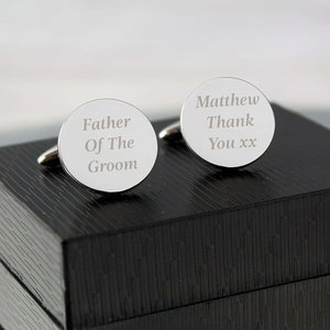Any Message Round Cufflinks For You Personalised Gifts P010477