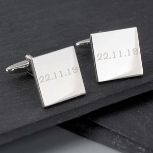 Any Message Square Cufflinks - 1 Line For You Personalised Gifts P0102g11