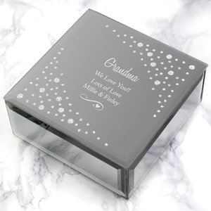 Any Message Swirls & Hearts Diamante Glass Trinket Box For You Personalised Gifts P1007c39