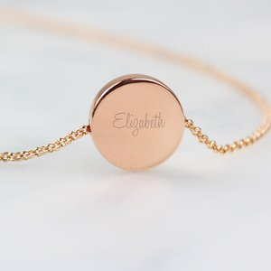 Any Name Rose Gold Tone Disc Necklace For You Personalised Gifts P0102v77