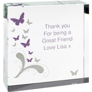 Butterflies Large Crystal Token For You Personalised Gifts P1007a07