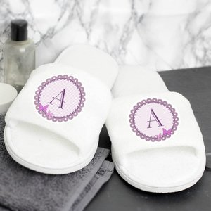 Butterfly Initial Velour Slippers For You Personalised Gifts P0710g05