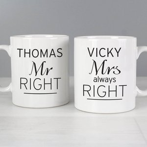 Classic Mr Right/mrs Always Right Mug Set For You Personalised Gifts P0306k55