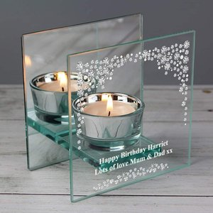 Diamante Mirrored Glass Tea Light Candle Holder For You Personalised Gifts P1007c61