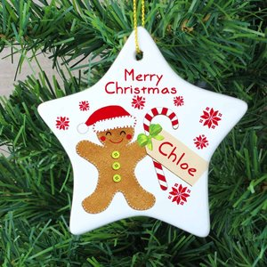 Felt Stitch Gingerbread Man Ceramic Star Decoration For You Personalised Gifts P0805d13