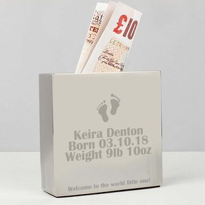 Footprint Square Money Box For You Personalised Gifts P010421