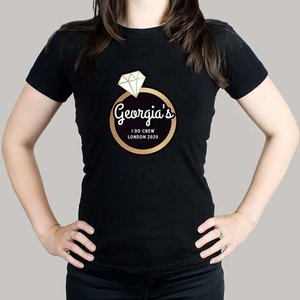 Gold Bling Ring Hen Party T-shirt - Black Medium For You Personalised Gifts P0510h21