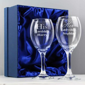 His & Her Wine Glass Set For You Personalised Gifts P0107d51