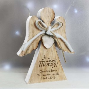 In Loving Memory Rustic Wooden Angel Decoration For You Personalised Gifts P0111b10