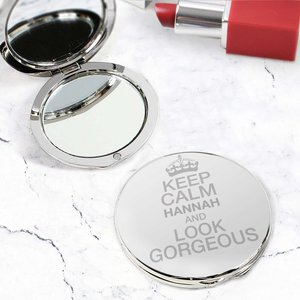 Keep Calm Compact Mirror For You Personalised Gifts P0102r75