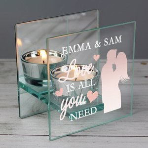 Love Is All You Need' Mirrored Glass Tea Light Holder For You Personalised Gifts P1007c80