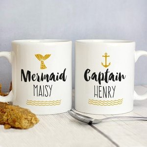 Mermaid And Captain Mug Set For You Personalised Gifts P0805g80