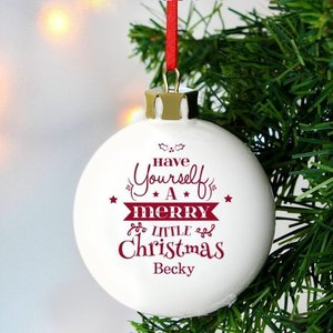 Merry Little Christmas Bauble For You Personalised Gifts P0305f26