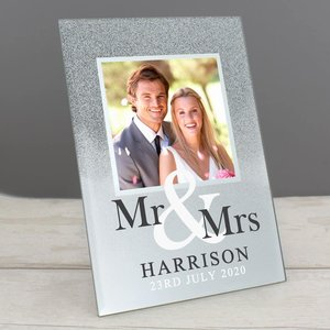 Mr & Mrs 4x4 Glitter Glass Photo Frame For You Personalised Gifts P1007d02