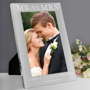 Mr & Mrs 7x5 Silver Photo Frame For You Personalised Gifts P0102v66