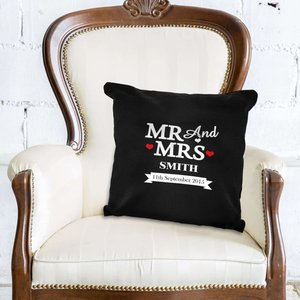 Mr & Mrs Black Cushion Cover For You Personalised Gifts P0510e35