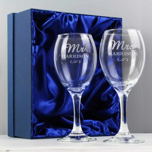 Mr & Mrs Wine Glass Set For You Personalised Gifts P0107d52