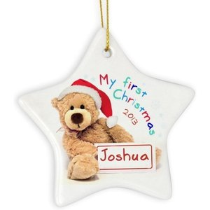 My First Christmas Teddy Ceramic Star Decoration For You Personalised Gifts P0805b85